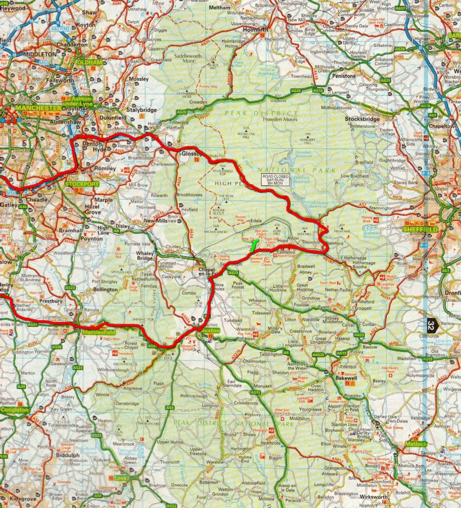 Peak District route map small