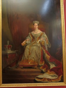Queen Victoria seated on the throne in the House of Lords 1838