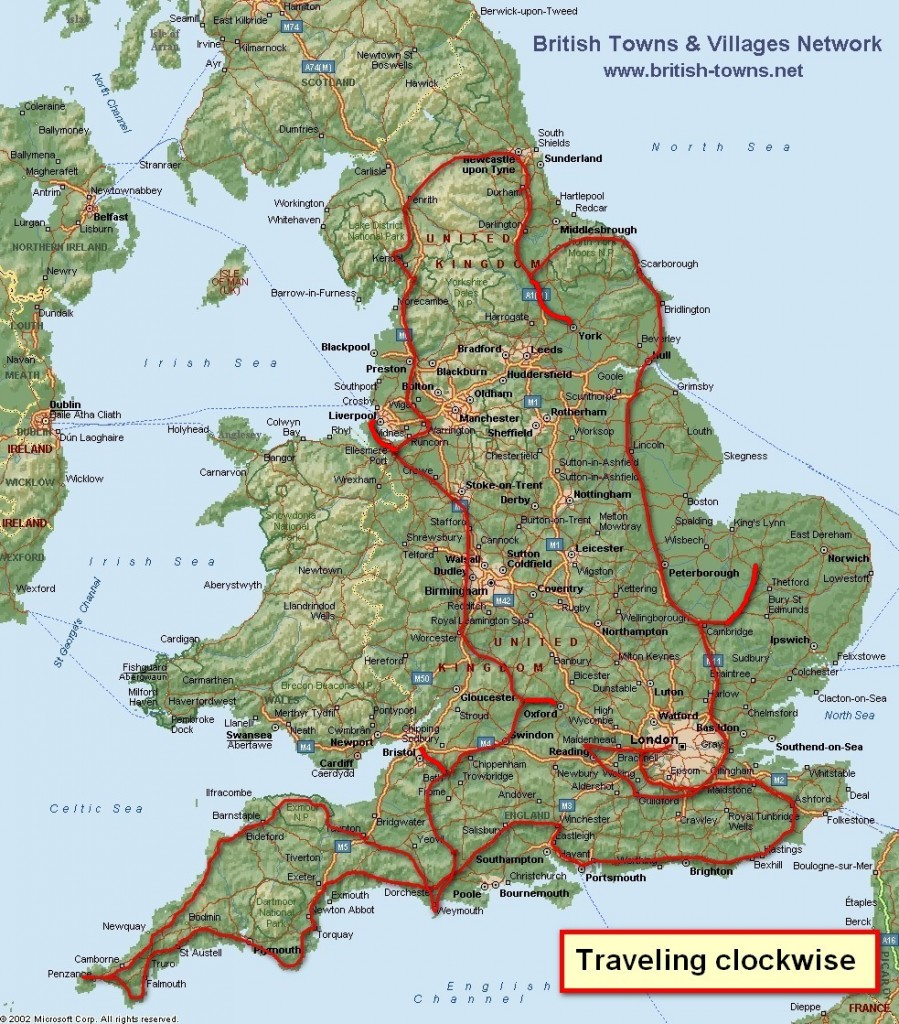 Map of England - with route